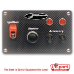 Carbon Fiber Flip-up Start Ignition Switch Panel with 2 accessory switches & lights, Longacre