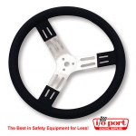 "15"" Aluminum Steering Wheel - Black w/ natural spokes and BUMP GRIP, Longacre"