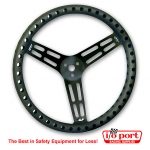 "15"" Uncoated Black Aluminum Steering Wheel - DRILLED - Flat, Longacre"